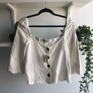 Zara NWT embroidered peasant blouse